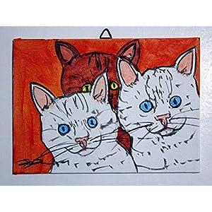 Kätzchen-gemalt auf Karton Leinwand Handarbeit, Größe cm 18x13x0,3cm,bereit, an die Wand gehängt zu werden.Hergestellt in Italien, Toskana, Lucca. Erstellt von Davide Pacini.