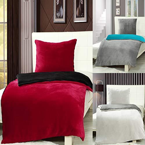 7dreams® Cashmere Touch Bettwäsche 135 x 200 cm + 80 x 80 cm - Rot/Schwarz - Plüsch Winter Wendebettwäsche - besonders weich - mit Reißverschluss