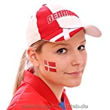 10 x Dänemark Tattoo Fan Fahnen Set - WM 2018 Denmark Temporary Tattoo Flag (10)