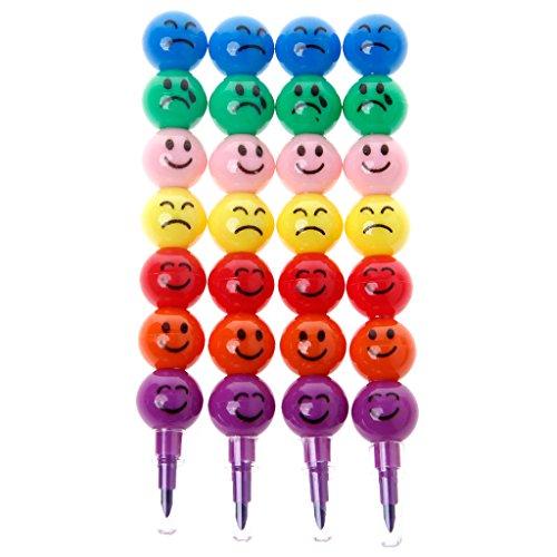 Rryilong 4 Stück 7 Farben Bleistift-Epilierer Mignon Gesicht für Schule Spielzeug für Kinder
