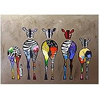 Pintura de pared de cebra colorida, moderna, para el hogar, dormitorio, oficina, cafetería, regalo sin marco