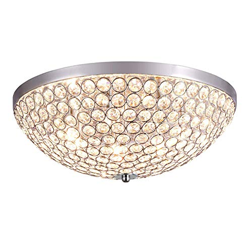 BMQXX Modern Crystal Ceiling Light Chandelier, Flush Mount Chrome Plating Process Round lampshades ,Ceiling Light Fitting for Bedroom, Living Room, Indoor, 7 * G9 Bulbs - Crystal Ceiling Mount