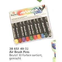 Rayher Air Brush pens, Bag 10 Colours Assorted, Mixed, Multi, 11.3 x 12 x 1.3 cm
