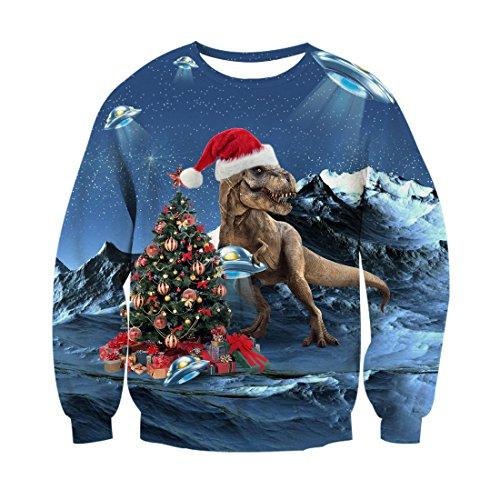 RAISEVERN Unisex Lustige hässliche Weihnachtsbaum Santa Dinasour Printed Hip Hop Neuheit Pullover Sweatshirt für Teen Boy Girl