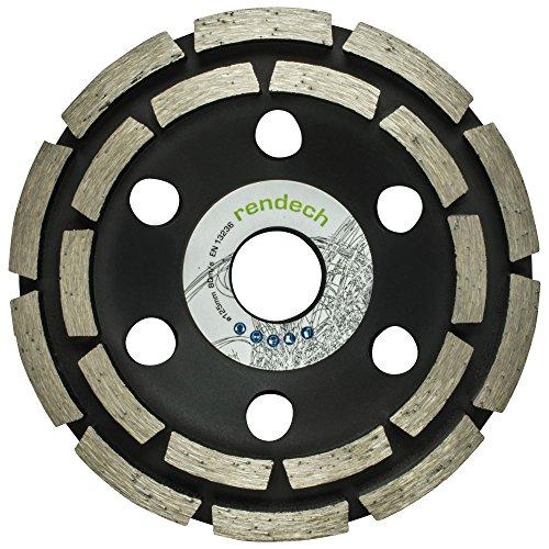 Rendech Diamant-Schleiftopf 125 mm für Fliesenkleber, Beton, Estrich, Putz, Steine uvm. - Betonschleifer mit zweireihiger Technik in Profi Qualität