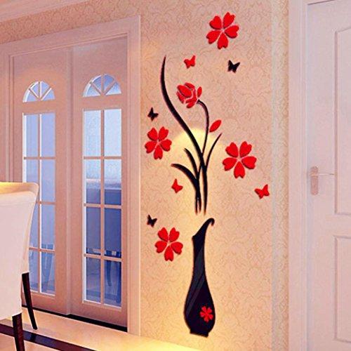 Prevently Wandaufkleber Kristall Stereo Aufkleber DIY Vase Blume Baum Kristall Acryl 3D Wandaufkleber Dekoration (B) (Baum Vase)