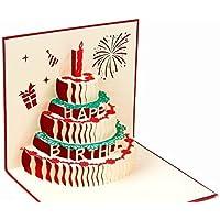 BC Worldwide Ltd Tarjeta emergente pop-up 3D hecho a mano Pastel de cumpleaños feliz para birthday girl, niño, él, her.friends, compañeros de familia colegas flor de vela de fuegos artificiales