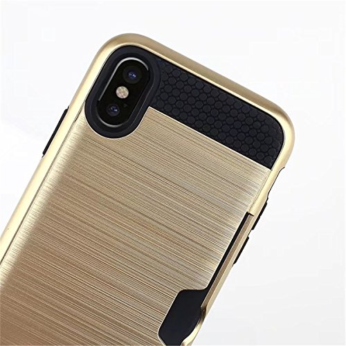 CaseforYou Hülle iphone X Schutz Gehäuse Hülse Brushed Textured PC Inner TPU Hybrid Back Case Cover Shock Resistant Protector with Card Slot Schutzhülle für iphone X Handy (Golden) Rose Gold