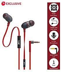 boAt BassHeads 200 In Ear Wired With Mic Earphones Red