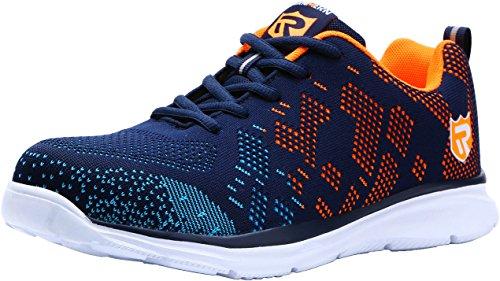 LARNMERN Stahlkappe Sicherheitsschuhe, Herren luftdurchlässige Leichte Anti-Smashing Punktion Proof Schuhe Industrie und Handwerk (45 EU, Blau Orange)