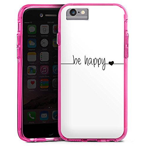 Apple iPhone 7 Bumper Hülle Bumper Case Glitzer Hülle Happy Happiness Spruch Bumper Case transparent pink