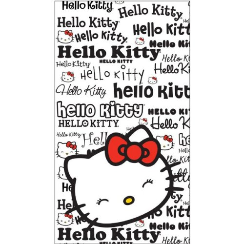 Toalla de Playa Hello Kitty Blanco y Negra 75X150 cm