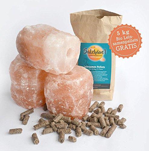 BIOMOND Salzleckstein Kritallsalz 3er-Set (je 2-3 kg) Mineralleckstein mit Kordel & GRATIS Bio-Leinsamen Pellets ca. 5 kg