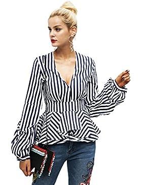 Ropa de algodon de manga larga mujer Simplee Stripe peplum Top Blusa Camisa cuello V