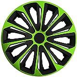 (Größe und Farbe wählbar!) 16 Zoll Radkappen / Radzierblenden STRONG BICOLOR GRÜN (Farbe Schwarz-Grün), passend für fast alle Fahrzeugtypen (universell) – nur beim Radkappen König