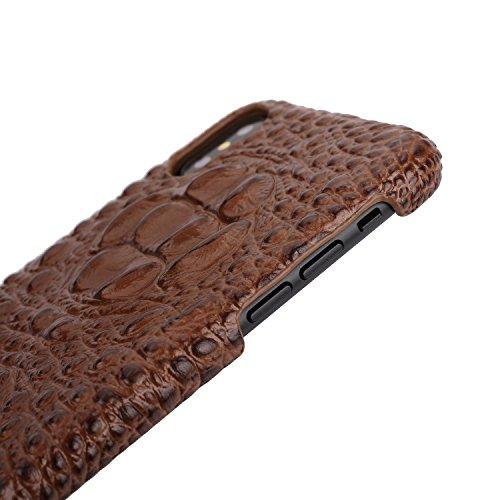 iPhone 6/6S Plus cas, Fashion Texture Crocodile + Cuir Véritable+Ultra-mince PC Shell,Convient pour iPhone 6/6S Plus (Noir) Noir
