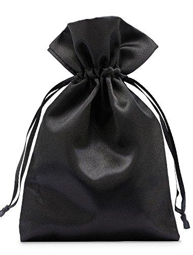 10 sacchetti in raso con cordoncino per la chiusura, misura 30x20 cm, sacchetto di raso, elegante involucro per regali, gioielli, natale, calendario dell'avvento (nero)