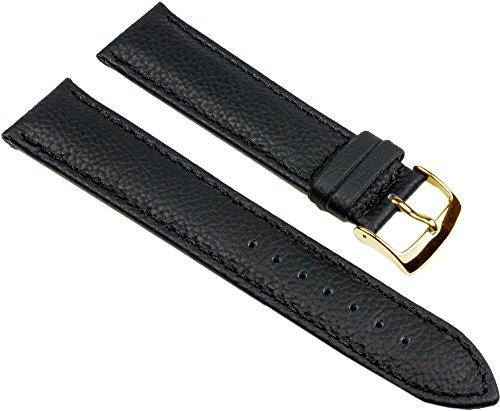 Eulit Fancy Classic Ersatzband Uhrenarmband Rindsleder Band Schwarz 25455G, Stegbreite:16mm