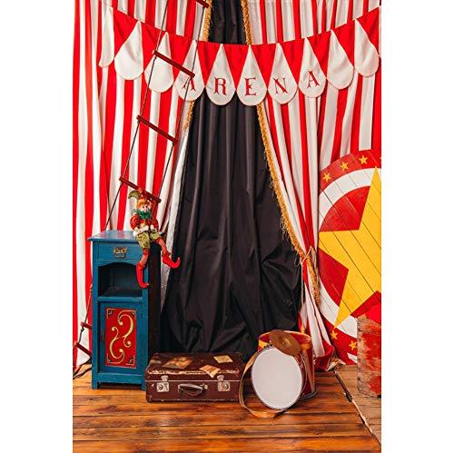 Cassisy 1x1,5m Vinyl Zirkus Fotohintergrund Zirkuszelt Dekor Zirkusvorhänge Clown Circus Requisiten Fotoleinwand Hintergrund für Fotoshoot Fotostudio Requisiten Party Baby Kinder Photo Booth