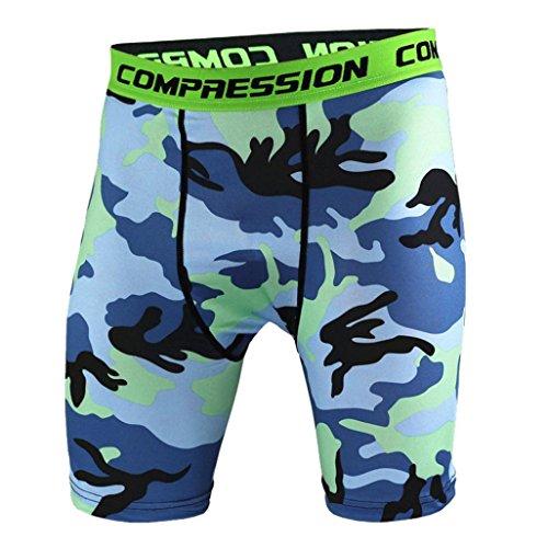 GreatestPAK Männer Herren Bedruckt atmungsaktiv und schnell trocknend Shorts Sport Training Bodybuilding Training Fitness Gym Short Pants Sommer Shorts,Blau,XL -