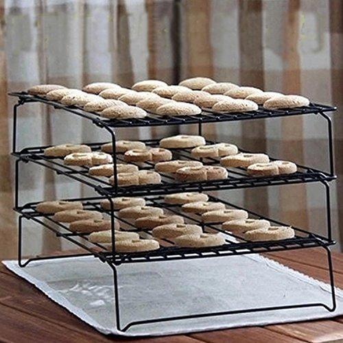 3 etagen Abkühlgitter Rechteckig Edelstahl, Zubita Abkühlgitter Brot Kuchen Auskühler Stapelbares mit Antihaftbeschichtung Schwarz
