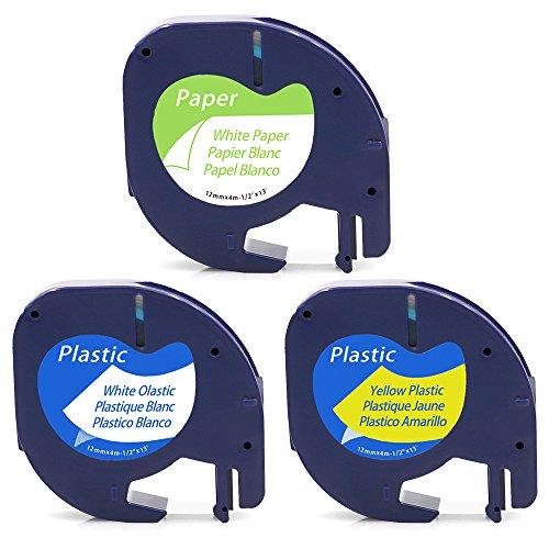 3 Etikettierband Kompatibel für Dymo LetraTag Kunststoff 91221 Schwarz auf Weiß / 91222 Schwarz auf Gelb / 91220 Papier Schwarz auf Weiß 12mm x 4m