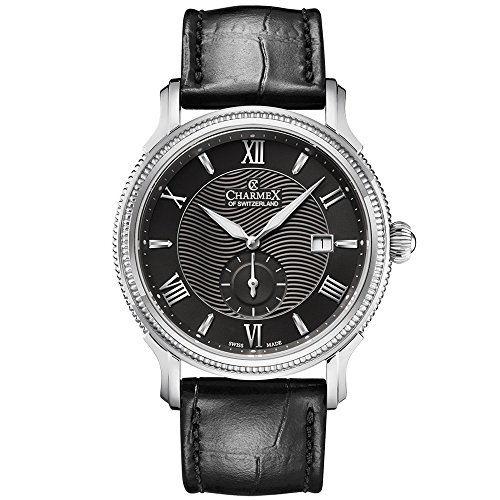 Charmex Men's La Rochelle 42mm Black Leather Band Steel Case Quartz Watch 2826