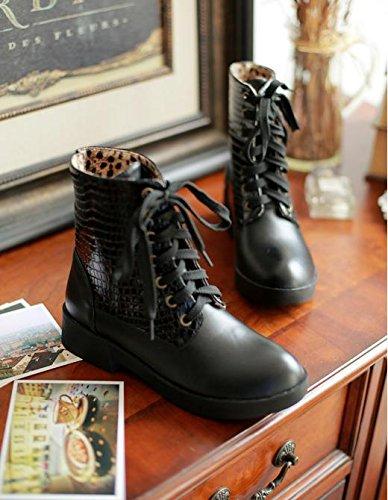&ZHOU Bottes d'automne et d'hiver courtes bottes femmes adultes Martin bottes Chevalier bottes a15 Black