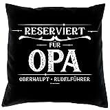 Soreso Design Vatertagsgeschenk Dekokissen Couchkissen :-: Reserviert für Opa Geschenk für Männer Opa Kissen und Urkunde Farbe:schwarz