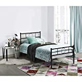 Aingoo Single Bed Frame Metal Platform with Headboard for Children Adults in Black