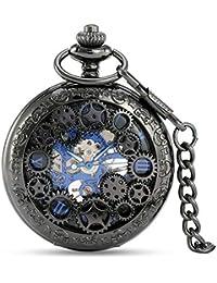 Avaner Reloj de Bolsillo, Mecánico Steam Punk, Reloj de Hunter Negro, Reloj de Engranajes Transparente, Retro Vintage, Regalo Original para Hombre Mujer, Regalo Día del Padre, Avaner