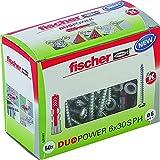 fischer DUOPOWER 6 x 30 S PH - Universaldübel mit Panhead-Schraube für eine Vielzahl von Baustoffen - Allzweckdübel für Leuchten, Bewegungsmelder, Hausnummern uvm. - 50 Stück - Art.-Nr. 535463
