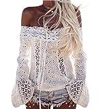 Donne Camicetta Koly_Donne A spalle merletto lungo del manicotto camicetta allentata Tops T-shirt (Asian Size:XL, White)
