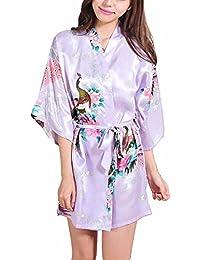 FY Mujeres Kimono Robe Bathrobe Albornoz Pavo Floral Print Camiseta Vestido Ropa de Dormir Camisón Novia
