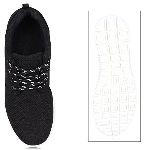 Damen Sportschuhe | Neon Laufschuhe | Runners Sneakers | Fitness Schnürer | Prints Blumen | Übergrößen Schwarz