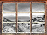 Bank in den Dünen mit Blick auf das Meer Kunst B&W Fenster im 3D-Look, Wand- oder Türaufkleber Format: 62x42cm, Wandsticker, Wandtattoo, Wanddekoration