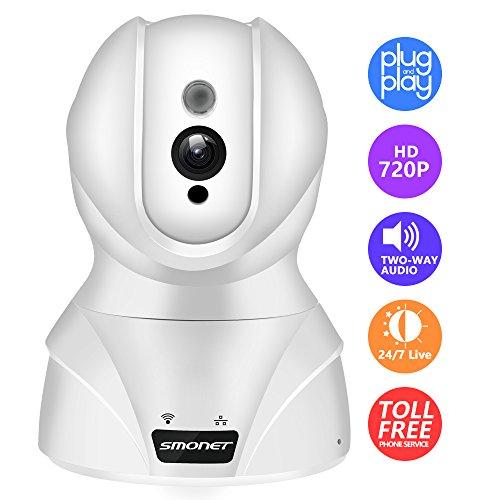 Überwachungskamera, Smonet HD 720P wlan IP Kamera drahtlos Wifi Audio Sicherheitskamera Schwenk- und Neigfunktion Nachtsicht Weiß