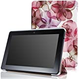 """MoKo Amazon Kindle Fire HDX 7"""" 2013 Case - Ultra Slim Lightweight Smart-shell Stand Case for Fire HDX 7.0 Inch 3rd Generation Tablet, Floral Purple (With Smart Cover Auto Wake / Sleep Feature)"""