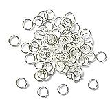 100X JUNGEN Anillos de la aleación, plateando los anillos de plata, accesorios útiles de la joyería para los colgantes y el pendiente, 5mm