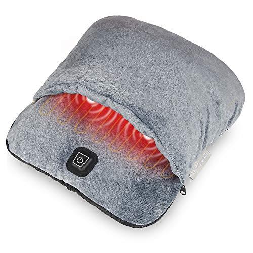 Scaldapiedi elettrico riscaldato con riscaldamento e massaggio con vibrazione, scaldapiedi rapido per riscaldamento, suola antiscivolo resistente, per uomini e donne per alleviare il dolore