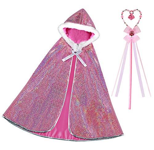 Bascolor Prinzessin Aurora Kostüm Mädchen Prinzessin Umhang Zauberstab Prinzessin Königin Kostüm Verkleidung für - Aurora Kostüm Kind