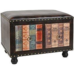 ts-ideen Taburete banqueta asiento sofá banco de corredor estilo de vintage antiguo libros rustico con 2 cajones para dos personas