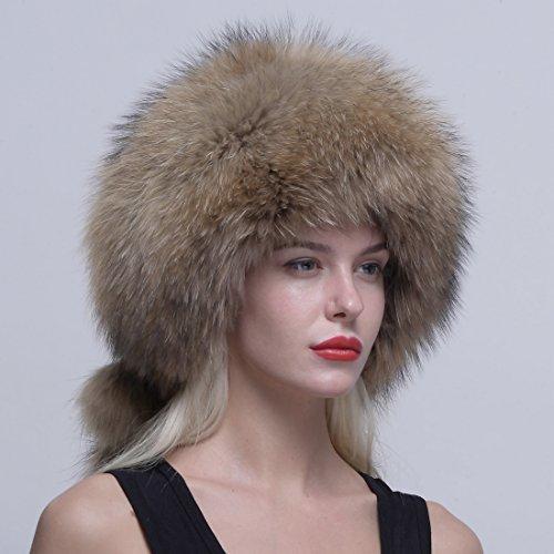 URSFUR Femme Chapeau/Bonnet En Vrai Fourrure Chapka Russe Fourrure Hiver Brun #1