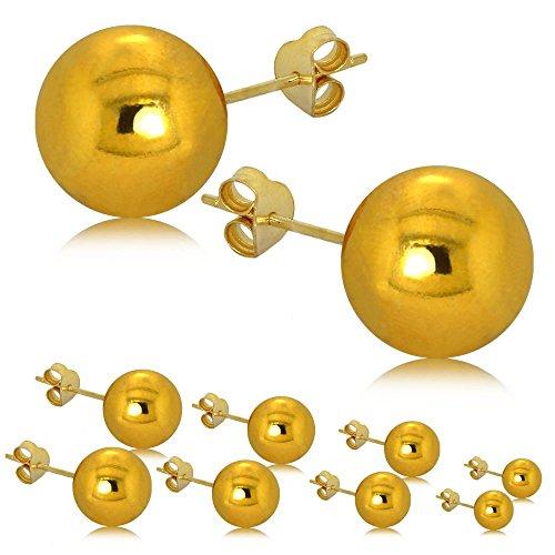 tumundo Orecchini Perla Signore Lucido Argento 925 Placcato 24K Oro Unisex Orecchino Incanti Intorno Donne Palla, colore:Alle Größen - golden / all sizes gold