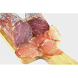 Lomo Iberico - luftgetrocknete Schweinelende vom Pata Negra Schwein mit Paprika, Lachsschinken, Schweinelachs, spanische Schinken-Spezialität am Stück, aus Freilandhaltung