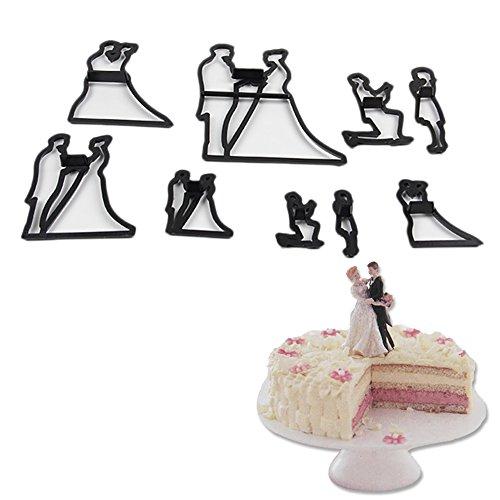 DKEyinx Braut Bräutigam Biscuits Cutter Set Schokoladenhochzeits Kuchenform Backform, 9 Stück/Set