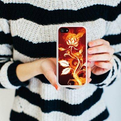 Apple iPhone 4 Housse Étui Silicone Coque Protection Rose Feu Feu Housse en silicone blanc