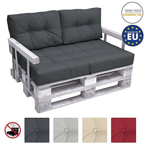 Beautissu set da 2 cuscini mini per spalliera di divano in pallet eco elements 60x40x10-20cm - per bancali - grigio