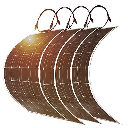DOKIO 4 * 100W (400W) Solarpanel flexibel Mono 12V - Solarmodul ideal für Wohnmobil, Camping, Gartenhaus 100w 4