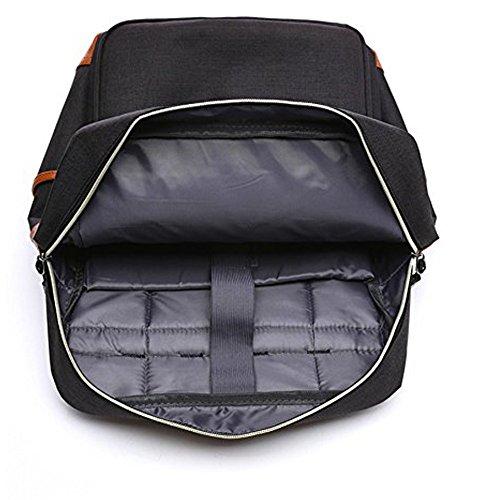 HITOP Leichte Schulrucksack Nette Canvas Schultaschen Damen Mädchen EXTRA Groß Kinderrucksack Daypacks Rucksäcke Modische mit Laptop Fach (Schwarz) Schwarz